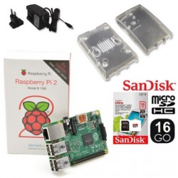 "Kit ""ma box domotique"" : Raspberry2 1Go + boitier + µSD 16Go Classe 10 + alime 2A"