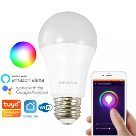 Ampoule WiFi E27 multicolore (RGBW) 800 lumens (8W) compatible Tuya Smart Life, Google Home, Amazon Alexa, Siri Shortcuts