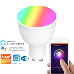 Ampoule WiFi GU10 multicolore (RGBW) 380 lumens (4,5W) compatible Tuya Smart Life, Google Home, Amazon Alexa, Siri Shortcuts