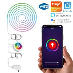 Ruban LED WiFi multicolore (RGBW) 12W compatible Tuya Smart Life, Google Home, Amazon Alexa, Siri Shortcuts