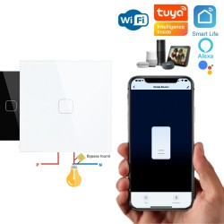 Bouton WiFi ON/OFF pour éclairage à câblage 2 fils (sans neutre) compatible app Tuya Smart Life, Nest, Alexa, Siri Shortcuts