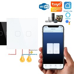 Double bouton WiFi ON/OFF pour éclairage à câblage 2 fils (sans neutre) compatible app Tuya Smart Life, Nest, Alexa