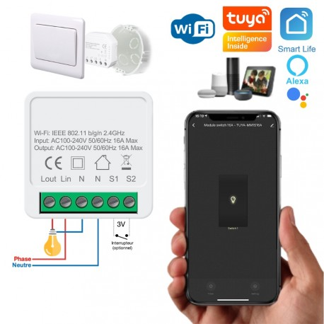 Micromodule WiFi ON/OFF 16A compatible app Tuya Smart Life, Google Home, Amazon Alexa, Siri Shortcuts