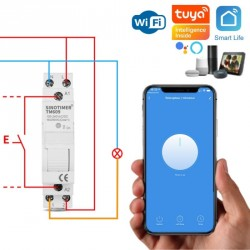 Télérupteur / Contacteur WiFi DIN 16A compatible Tuya Smart Life, Google Home, Amazon Alexa