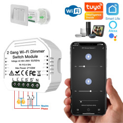 Micromodule variateur WiFi double sortie compatible app Tuya Smart Life, Google Home, Amazon Alexa, Siri Shortcuts