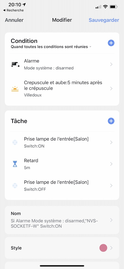Programmation de scénarios d'automatisme depuis un Smartphone iOS (iPhone / iPad) ou Android via l'application Tuya Smart ou Smart Life
