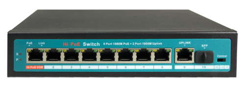 Switch Hi PoE 8 ports silencieux (sans ventilateur)